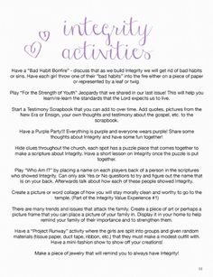 Stand & Shine Magazine: Integrity YW Activity Ideas