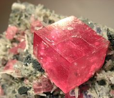 Rhodochrosite with Quartz and Fluorite from Sweet Home Mine, Alma, Alma District, Park Co., Colorado, United States.