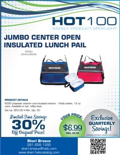 Promotionally Yours: Hot 100  Jumbo Center Open Insulated Lunch Pail