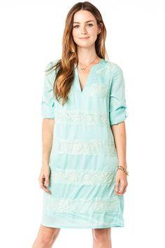 Lace Stripe Shift Dress in Mint / ShopSosie #Lace #Stripe #Shift #Dress #Mint #ShopSosie