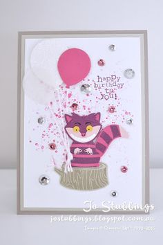 Jo's Stamping Spot - #WWYS75 Cheshire Cat made using Foxy Friends by Stampin' Up!