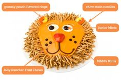 DIY Lion Cake: Make a lion birthday cake with chow-mein noodles. Easy, step-by-step recipe, diagrams and pictures.