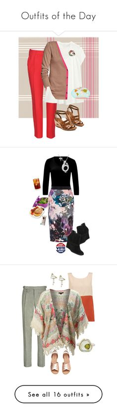 """""""Outfits of the Day"""" by alzjunkyard ❤ liked on Polyvore featuring Brewster Home Fashions, Miu Miu, Old Navy, ECCO, Kim Rogers, Charlotte Olympia, ESCADA, Coast, Nine West and Amanda Rose Collection"""