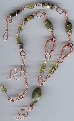 Handmade Copper Wire Jewelry | pretty green necklace of solid copper wire wrapped work with green ...