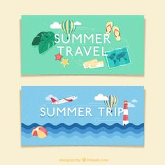 Trip in summertime banners Free Vector
