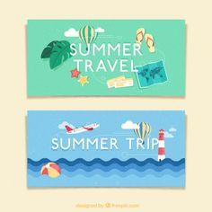 Voyage dans les bannières d'été Vecteur gratuit