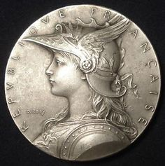 Art Nouveau French Marianne Shooting Silver Plated Boxed Medal