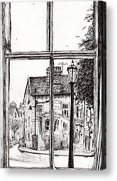 Architecture Drawings Canvas Prints - View from Old Hall Hotel Canvas Print by Vincent Alexander Booth