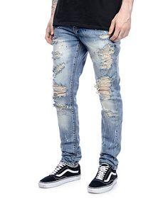Red Fox Womens Distress Ripped Paint Splatter Jeans w// Ribbing