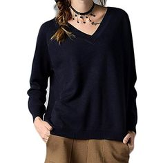 XTX Women's Autumn Thin Knitted V-neck Loose Pullovers Sweaters *** Find out more about the great product at the image link. (This is an affiliate link) #Sweaters
