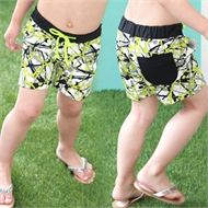 Super stylish retro board shorts with fabric mesh insert for swimming and side pockets