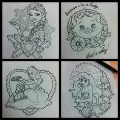 Pretty Tattoos, Love Tattoos, Body Art Tattoos, Tatoos, Doodle Drawings, Tattoo Drawings, Cute Disney Tattoos, Tattoo Disney, Disney Sleeve