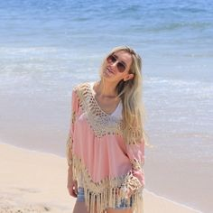 Pink Boho Crochet Fringe Top▫️One Day Sale Restocked!! Limited Quantity. Beautiful soft pink boho top. Creme crochet fringe. 65% cotton 35% poly, very soft and comfortable. Brand new with tag // M and L available. S sold out. LF sells this exact top for $125. 🌸Price firm unless bundling🌸 Photos are my own shot in the Hamptons 🐚🌊 *Not from listed brand, done for exposure. Boutique brand* LF Tops