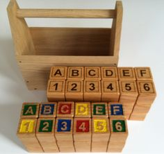Hand carved and painted or woodburned ABC blocks in Oak
