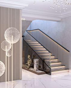 Apartment in Baku_A on Behance Staircase Interior Design, Luxury Staircase, Home Stairs Design, Home Building Design, Railing Design, Home Room Design, Modern House Design, Door Design, Architecture Design