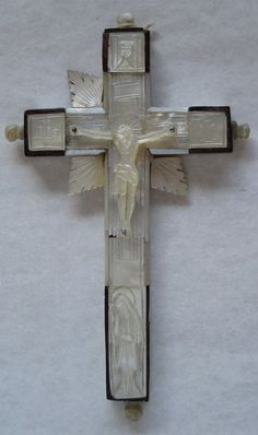 Antique French Hand Carved Mother Of Pearl 14 Stations of the Cross Crucifix by VintageFrenchFinds, $75.00