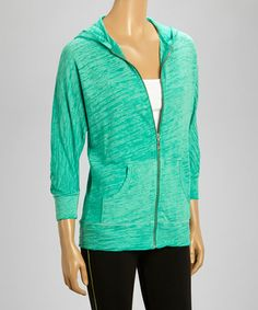 Another great find on #zulily! Turquoise Burnout Zip-Up Hoodie by Pink Lotus #zulilyfinds