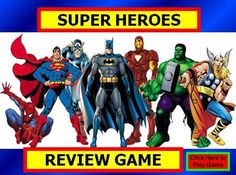 This is a completed and ready to go game template created with POWERPOINT software. All links and question slides are created and ready for use. Just type in questions and answers. Students of all ages will love the SUPERHERO graphics and theme throughout.