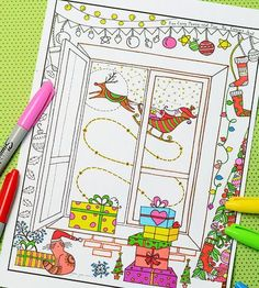 Merry Christmas Coloring Page | I love this adult coloring book page for Christmas!