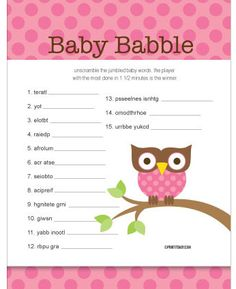 64 Best Baby Shower Games For Girls Images On Pinterest In 2019