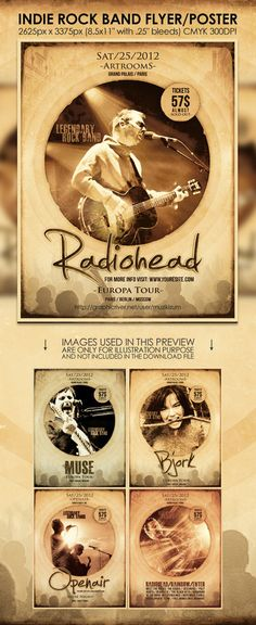 Indie Band Posters   Indie Rock Band Flyer/Poster Vintage Party Flyer Template   LOVESTORY ...
