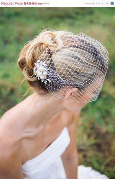 ON SALE Veils bridal Birdcage veil with rhinestone by BridesBoutik, $32.17