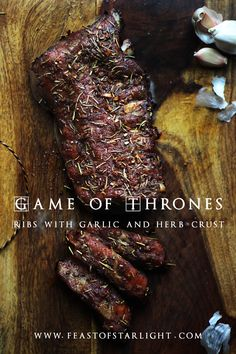 recipes meat Game of Thrones: Roasted Ribs with Garlic and Herb Crust Game of Thrones: Roasted Ribs with Garlic and Herb Crust - Feast of Starlight Game Of Thrones Food, Game Of Thrones Party, Rib Recipes, Cooking Recipes, Cooking Pork, Cooking Salmon, Cooking Games, Medieval Recipes, Crust Recipe