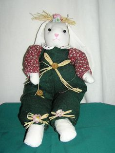BUNNY RABBIT PRETTY IN GREEN different FLOPPY EARS  BUNNIE our store link http://stores.ebay.com/store4angels?refid=store come see our store front always have great sales