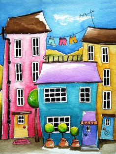 The Blue House Painting - The Blue House Fine Art Print