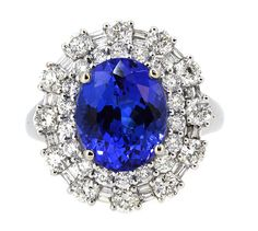 Ring Center Oval Shape Tanzanite 3.65ct. with (54) Round and Baguette Diamonds…