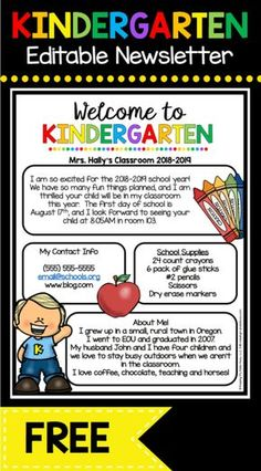 Back to School — Keeping My Kiddo Busy FREE Welcome to Kindergarten newsletter - EDIT and print to send during Back to School season or Open House - adorable Meet the Teacher letter FREEBIE Kindergarten Welcome Letter, Teacher Welcome Letters, Kindergarten Newsletter, Beginning Of Kindergarten, Letter To Teacher, Kindergarten Freebies, Classroom Newsletter, Kindergarten Lesson Plans, Kindergarten Teachers