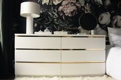 19 Brilliant IKEA Storage Hacks for Small Bedrooms [Easy DIY] - Typically Topical Ikea Dresser Makeover, Ikea Malm Dresser, Gold Dresser, Furniture Makeover, Malm Drawers, Nightstand, Dresser Makeovers, Ikea Hacks, Ikea Lillangen
