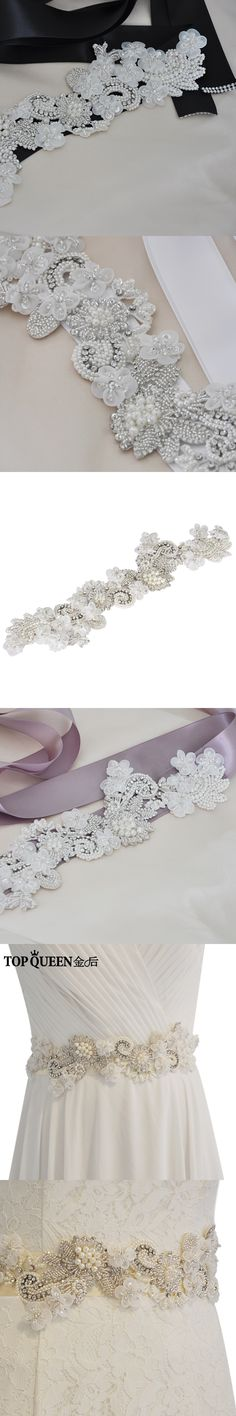 TOPQUEEN S331 New High-grade Handmade Luxury Wedding sashe Pretty Crystal Beads Pearl Diamonds Embroidered Belt Wedding Sashes