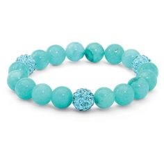 Beaded Agate and Simulated Birthstone Stretch Bracelet 8 ($23) ❤ liked on Polyvore featuring jewelry, bracelets, blue, jewelry & watches, rings, imitation jewelry, artificial jewellery, fake jewelry, artificial jewelry and blue bangles