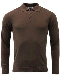 b0737669f7 Brando Retro 1960s Mod Mens Knitted Polo (Brown) from Madcap England  #madcapengland #