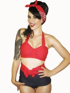 WINK Red Retro Bikini Top Sizes S, M, L, XL via Etsy. Her shop has the cutest things. I would pin this whole site, but I figure the link is good enough. Enter at your own risk :)