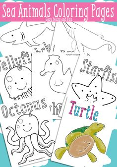 Sea Animals Coloring Pages for Kids // Páginas para colorear animales de mar