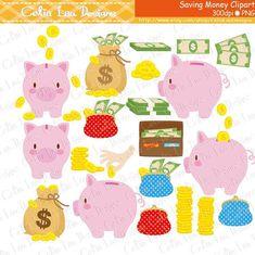 Piggy Bank Clipart Savings Money Dollar Coins by CeliaLauDesigns