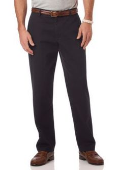 Chaps Navy Flat Front Pant
