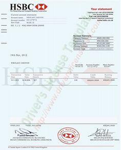 Hsbc Bank Account Statement Psd Credit Card Statement Bank Statement Statement Template