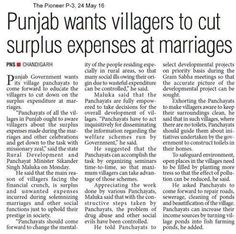 Punjab wants villagers to cut surplus expenses at marriages #WeSupportSAD #ShiromaniAkalidal