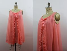 vintage 60s nightie / 60s peach nightgown by livinvintageshop #babydoll #madmen #lingerie #lace
