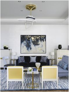 living room decor,gold leaf to abstract, blue shades, for more inspirations and ideas visti:http://www.bocadolobo.com/en/inspiration-and-ideas/