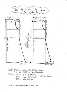 Esquema de modelagem de Vestido Regata Simples tamanho 46.