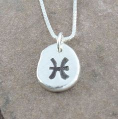 Pisces Necklace,Organic Rustic Recycled Sterling Silver Zodiac Jewelry/FREE SHIPPING