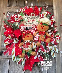 Gingerbread Kisses & Christmas Wishes ❣️ 🎄🏠❤️🏠🎄 This biggie has SOLD~ Polka Dot ribbon from Gingerbread Christmas Decor, Candy Land Christmas, Gingerbread Crafts, Christmas Mesh Wreaths, Mickey Christmas, Whimsical Christmas, Diy Christmas Gifts, Holiday Crafts, Christmas Crafts