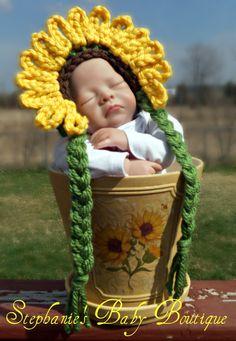 Crochet Baby Girl Sunflower Flower Cap $17.50 I love this so much!!