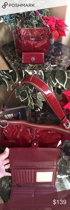 d3ed0abde16 COACH CHELSEA With wallet red patent leather strap trim with chains red  liquid glossy exterior