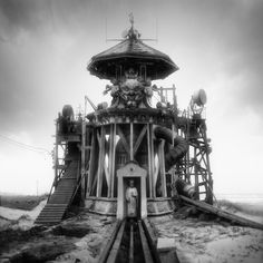 Inspired in part by the classic horror literature of H.P. Lovecraft, artist Jim Kazanjian assembles foreboding buildings using snippets of photographs found in the Library of Congress archives. Equal parts secret lair, insane asylum, and the work of a deranged architect, Kazanjian's collages are created from 50-70 separate photographs taken over the last century. Each piece takes nearly three months to complete.