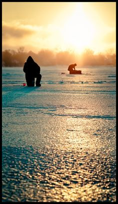 Ice Fishing Sunrise in Wisconsin - Etherial Fishing by Robert Stebler